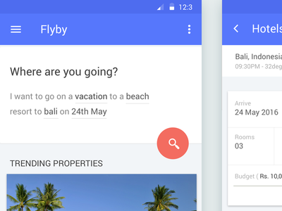 Hotel booking experiment filters natural language form minimalist ux material design