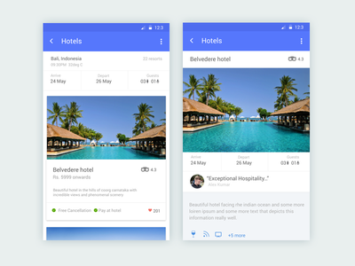 Hotel booking app mobile minimalist ux material design