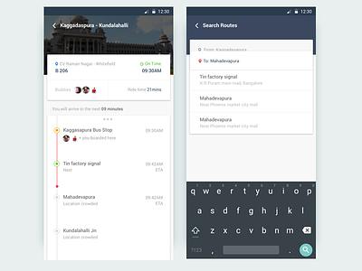 Concept for a Social commute app social commute material design minimalist ux