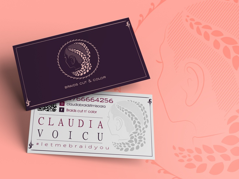 Braids Business Card minimal illustration flat vector branding