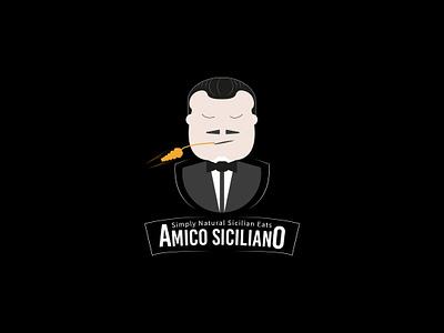 Amico Siciliano Logo fashion food branding vector logo design illustration