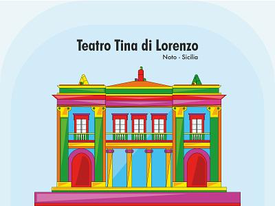 Teatro Tina di Lorenzo Noto-Sicilia flatdesign design art barocco vector sicily icon flat design branding illustration