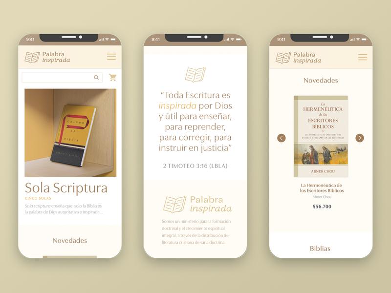 Website Mobile Views — Palabra Inspirada bookshop bookstore responsive website responsive design responsive books design branding web website design