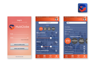 Telas do aplicativo hubglobe