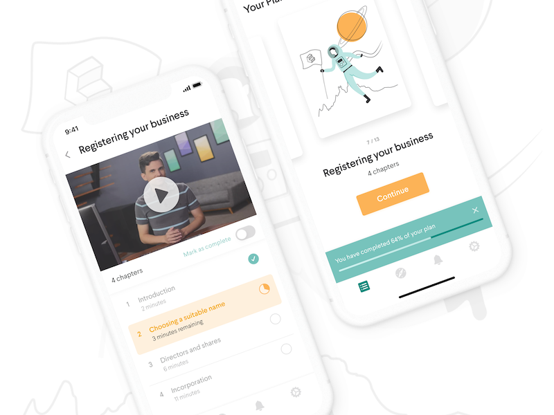 Launch colourful business elearning learning ui minimal mobile simple clean colorful app ios