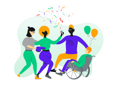 TwoCards – Launch Party 🎉 landing page ux ui minimal colorful simple flat invoicing invoice twocards illustration