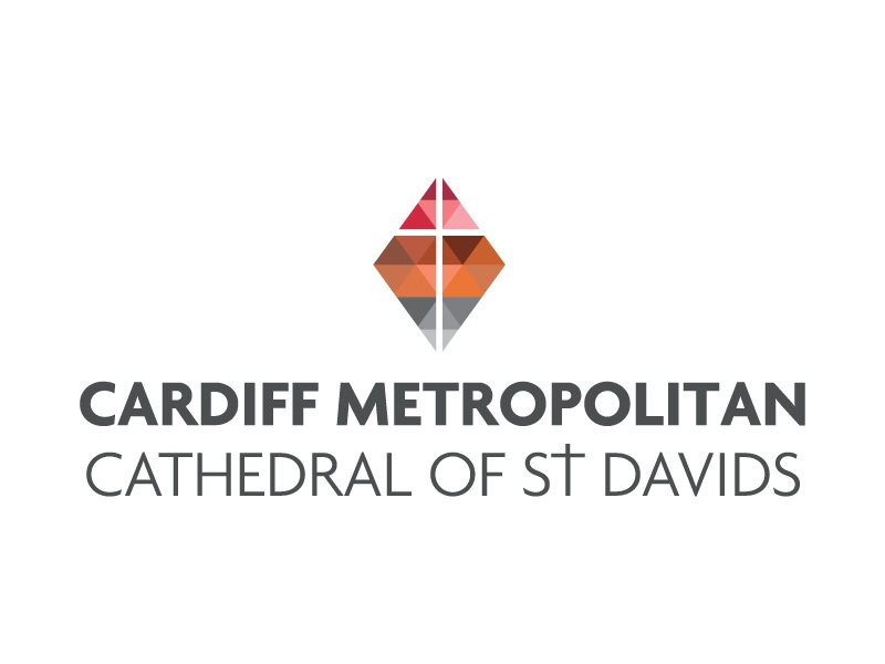 Cmcsd cathedral logo stained glass low poly illustration cardiff typography religion cross design branding brand identity