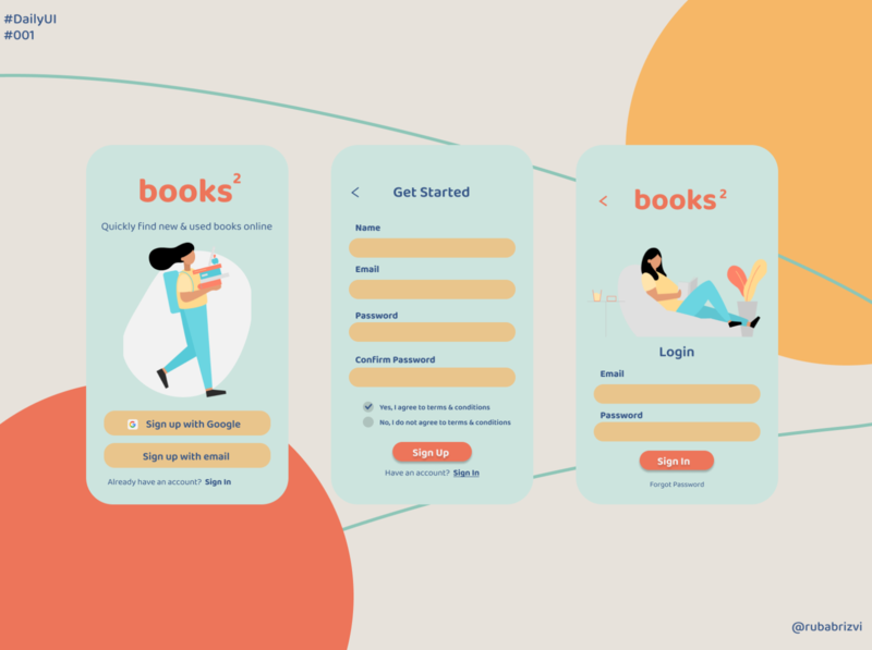 DailyUI #001 app reading book books minimal illustration ux ui design daily 100 challenge dailyui 001 daily ui dailyui daily