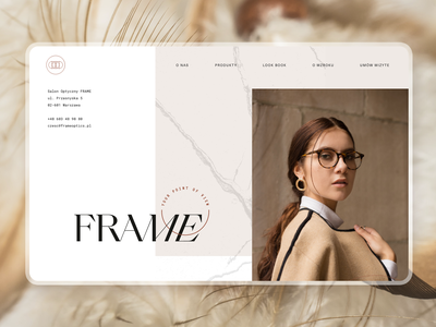 Frame Optics® website logo branding webdesign glasses frames stylish modern classic delicate optic indentification