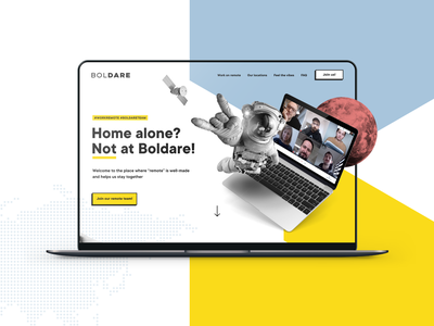 Remote work at Boldare® collage geometric website product designer remote working mockup laptop hectagon boldare astronaut webdesign landing page job offer work remote