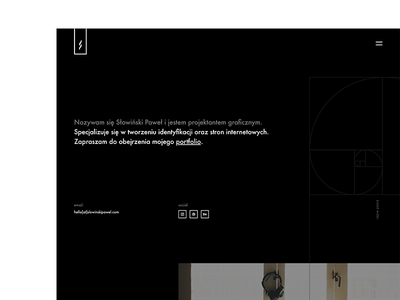 Own website spiral geometric designer portfolio page webdesign ux bw simple website