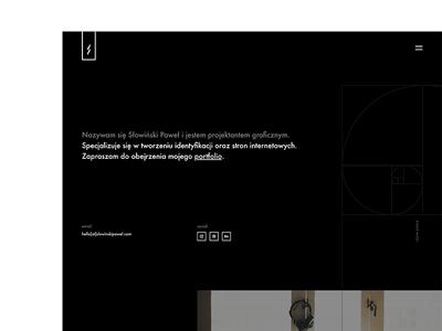 Own website spiral geometric designer portfolio page webdesign ux bw simple website