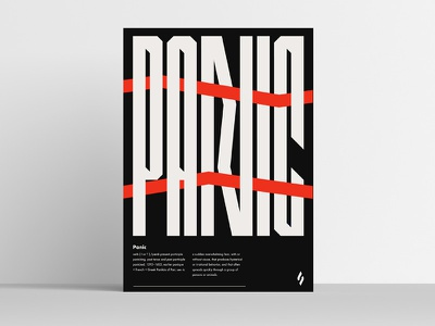 Panic / poster slowinskipawel red lines panic simple design font custom letters type poster