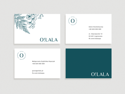 O! LALA Beauty Salon beauty salon beauty grey delicate floral business card logotype branding
