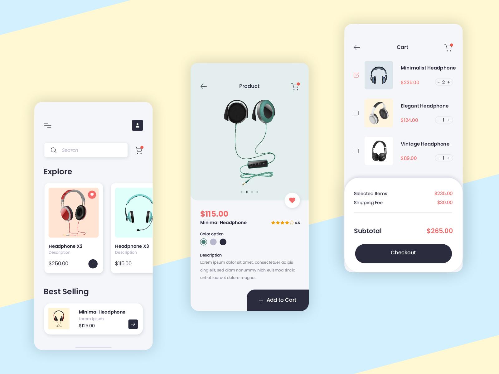 Headphone Ecommerce App Design