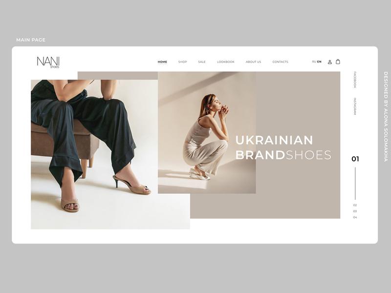 part.1 MAIN PAGE\WEBDESIGN\WEBSITE\SHOP\SHOES\NANISHOES website typography shop shoes webdesign web ux ui project design