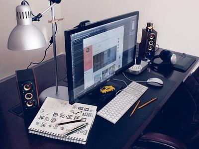 Designer's Workplace flat ios ui ux web webdesign photography designer android studio interface workspace