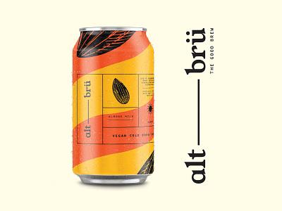 alt-brü packaging branding summer oat milk almond milk vegan 1980s coffee iced coffee can design