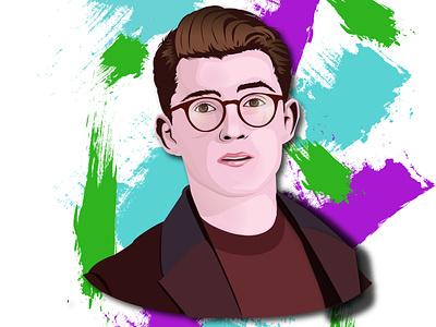 Tom Holland Portrait first post vector portal illustrator illustraion
