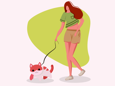 Girl and Cat Illustration illustration girl characterdesign cat vector illustrator first post