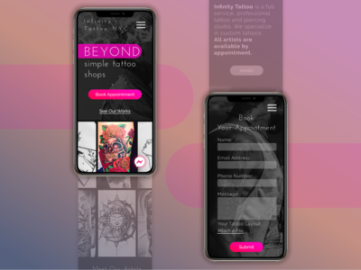 Tattoo Shop Website Mobile website web webdesign ux ui redesign modern mobile ui mobile minimal landing page gradient figma design contrast concept clean bright color bright