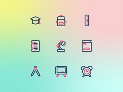 Education Icons flat two tone line simple icon designer icon pack icon set icon design icon