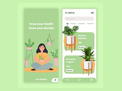 Ui design plants ux app design ui illustration