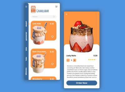 granola bar granola ui design app