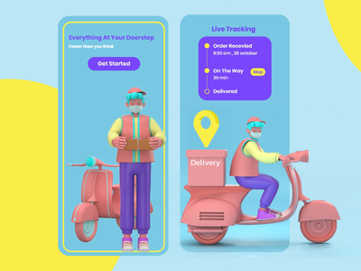 Delivery App tracker app tracker track bike motorcycle delivery service delivery app delivery purple 3dillustration illustration designer design ui app