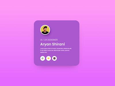 Online Vcard - Profile page - Profile Card Deasign profile card profile page profile gradient ui design template freebie wordpress elementor xd design design simple