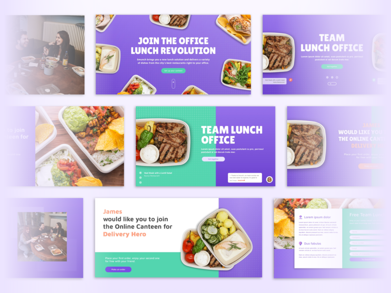 Smunch Landing page foodie food and drink office lunch food app online canteen berlin landing page food