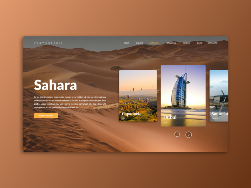 Landing page - Cartografia landscape swipe scroll home screen home page design home page social media dubai sahara world travel agency travelling travel landing page