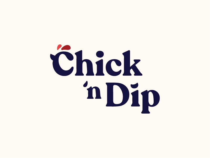 Chick 'n Dip retro typography identity fast food food branding brand rooster logo fried chicken bird