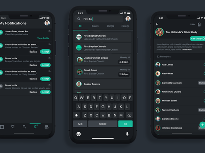 Video App - Search & Notifications ios14 app uiux ui list ui chat notifications search