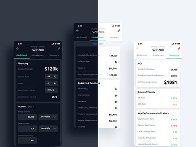 Real Estate Calculation App design app agency ui design balance sheet fintech form dark mode interactive design ui uiux