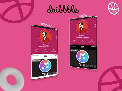 Dribbble My Profile dailyui006 graphicdesign app letter uiux design uiuxdesigner dailyuichallenge profile design profile page profile dribbble ui dailyui design uiuxdesign uidesign uiux
