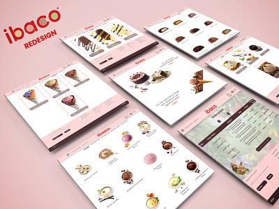 IBACO Redesign Project anima chocolate bar sundae icecreamcake sauce color uiuxdesigner icecream ibaco minimal uiuxdesign web uiux typography branding graphicdesign redesigned redesign concept redesign design