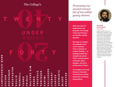 The College Magazine - 20 Under 40 publication design