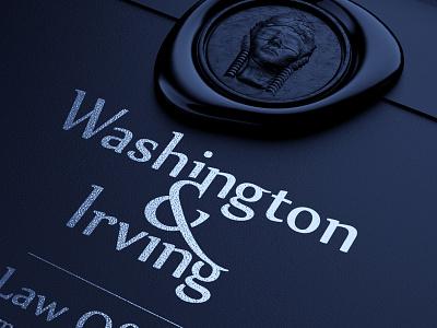 Washington&Irving law office logo mockup 3d model envelope