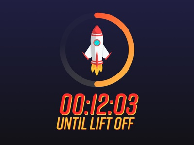 Day 014 - Countdown Timer Rocket Launch launch rocket timer countdowntimer countdown illustration uxui minimal dailyuichallenge branding visualdesign ui dailyui