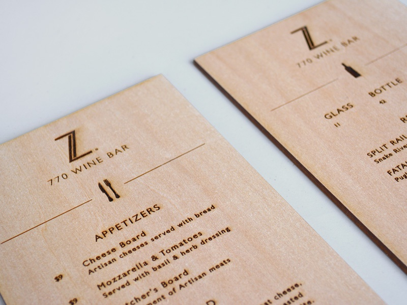 770 Wine Bar Menu type typography menu brand wine lasercut wood basswood identity