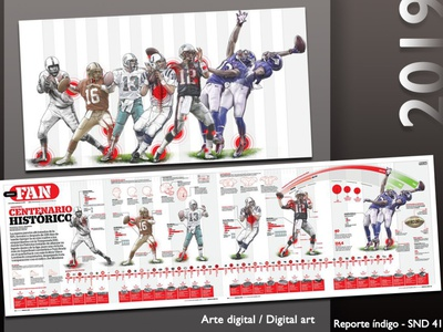 NFL 100 years sports infographic illustration art