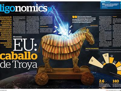 USA: Trojan horse editorial illustration art