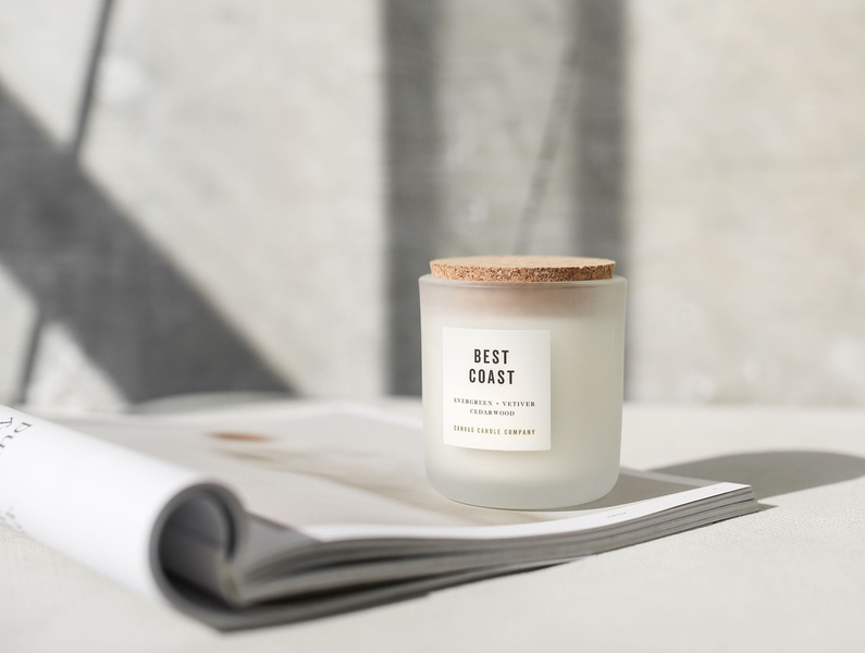 Canvas Candle Company identity typography graphic design branding minimal packaging label design candle