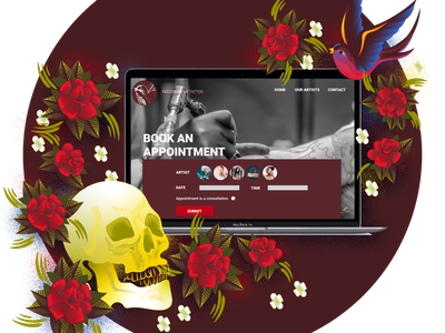 Tattoo Studio Website Mockup illustration ui design mockup design web design