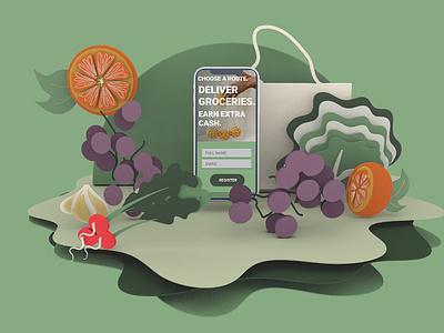 Grocery Delivery App Mockup illustration 3d ilustration mockup ui design mockup design