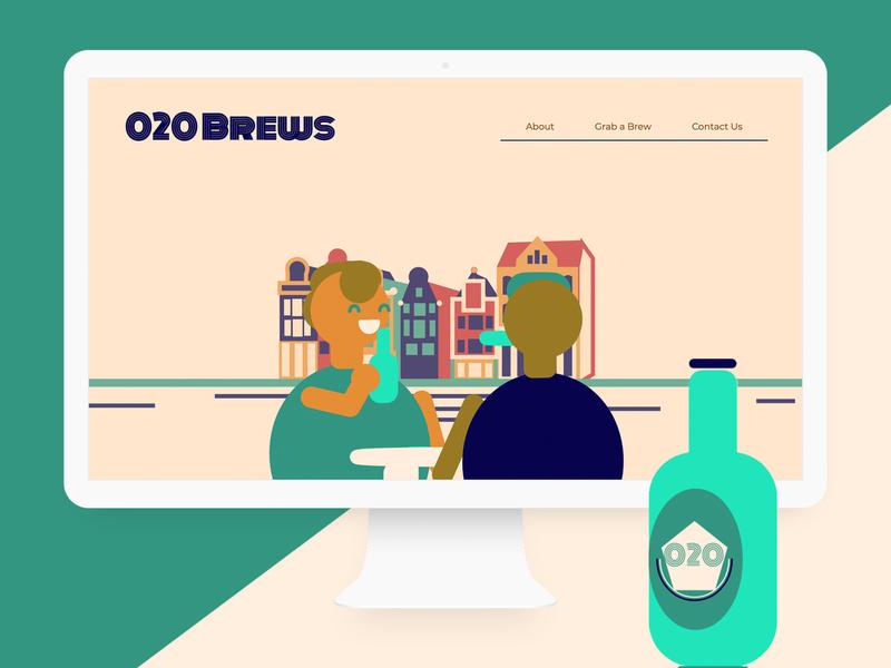 020 Brews Interactive Landing Page identity interaction design website design ui mockup design web development front-end development web design 3d ilustration ui design