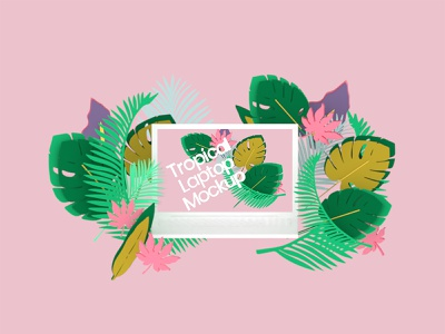Tropical Laptop Mockup vectary vectary 3d 3d art 3d design illustration mockup 3d ilustration mockup design