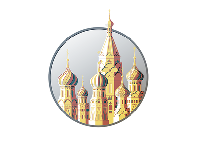 St. Basil's Cathedral church onion domes architecture illustration vector sketch moscow