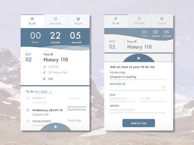 To do list app tab navigation app mobile form clock countdown